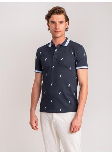 Dufy Marın Temali Yaka Detayli Polo Yaka Erkek T-Shirt - Slim Fit Lacivert